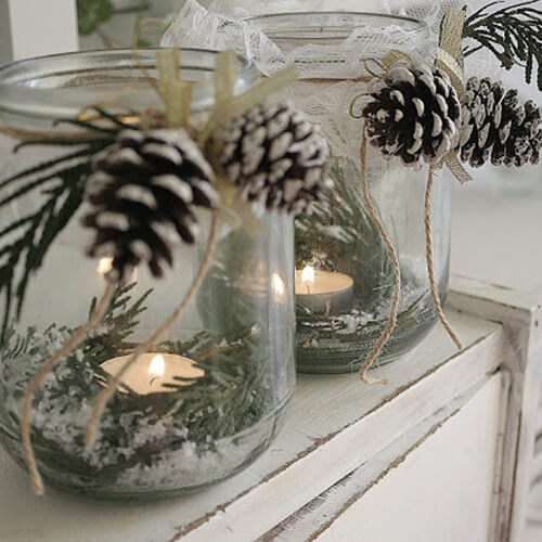 идеи для зимы, свечи